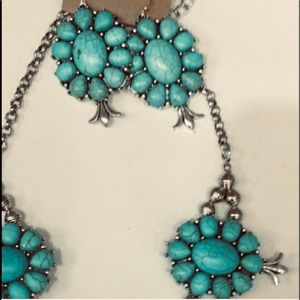 TURQUOISE SQUASH BLOSSOM EARRINGS FREE w/ NECKLACE